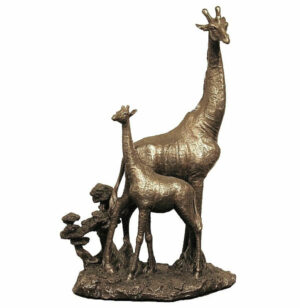 cold cast bronze giraffe and baby