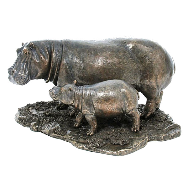 cold cast bronze hippo and baby