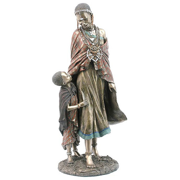 cold cast bronze Maasai mother and child