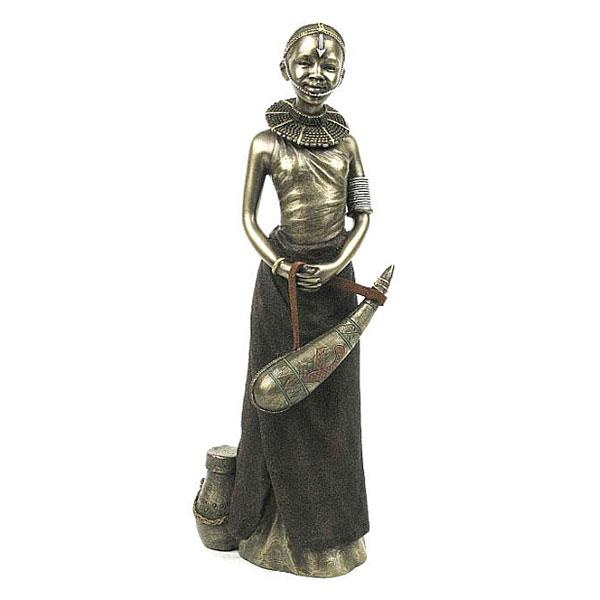 cold cast bronze Maasai girl