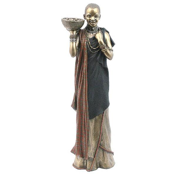 cold cast bronze Maasai woman