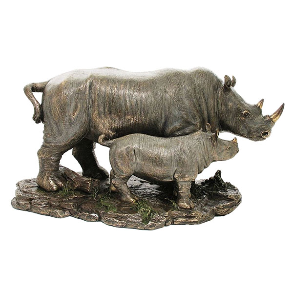 cold cast bronze rhino and baby