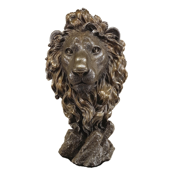 cold cast bronze lion head