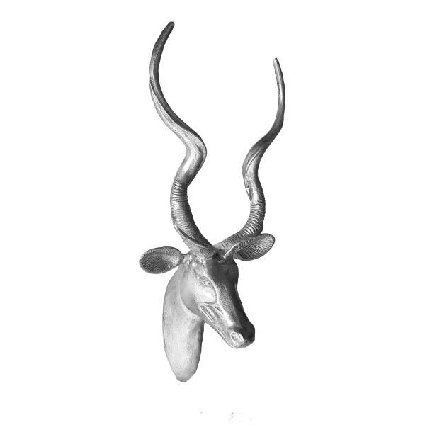 lifesize aluminium sculpture of kudu buck head